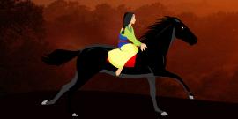 mulan monte un cheval